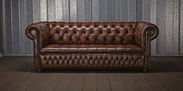 chesterfield sofa brunt laeder
